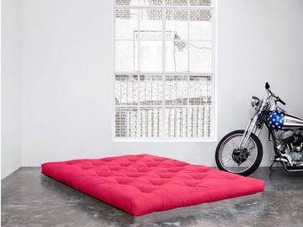 WHITE LABEL - matelas futon double latex rose longueur couchage - Futon