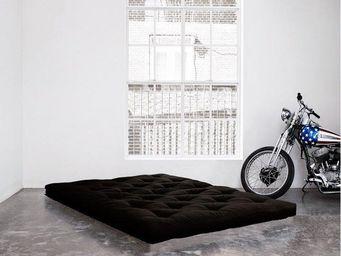 WHITE LABEL - matelas futon coco noir 200*200*16cm - Futon