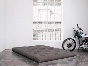 WHITE LABEL - matelas futon coco gris 200*200*16cm - Futon
