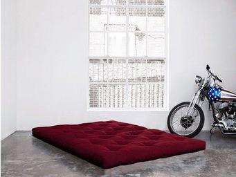 WHITE LABEL - matelas futon double latex bordeaux 120*200*18cm - Futon