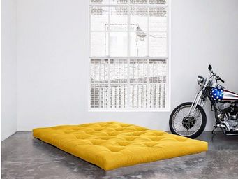 WHITE LABEL - matelas futon double latex jaune 140*200*18cm - Futon