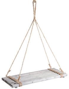 Aubry-Gaspard - plateau suspendu en bois teinté gris - Support De Jardiniere