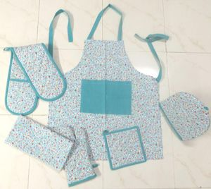 ITI  - Indian Textile Innovation - small flowers - blue - Tablier De Cuisine