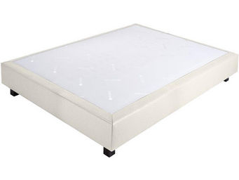 CROWN BEDDING - sommier ressorts chambly simili cuir blanc 160x200 - Sommier Fixe À Ressorts