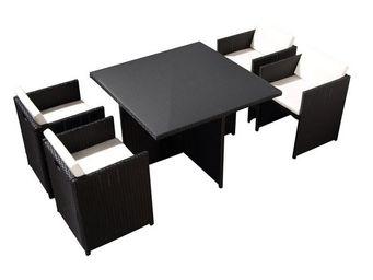 TOUSMESMEUBLES - salon de jardin 4 fauteuils noir - aitutaki - l 11 - Salle � Manger De Jardin