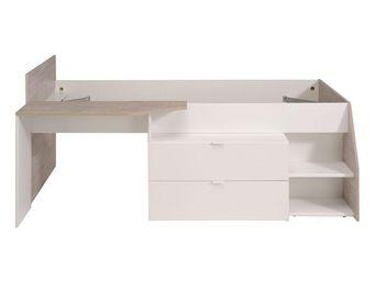 WHITE LABEL - lit à tiroirs blanc/bois - way - l 203 x l 136 x h - Lit Enfant