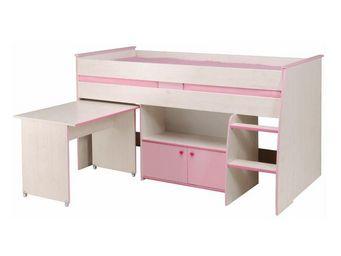 WHITE LABEL - lit surélevé 90*200 cm bureau et placard intégrés - Lit Enfant