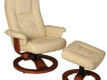 WHITE LABEL - fauteuil de relaxation cuir ivoire - relaxo - l 75 - Fauteuil De Relaxation