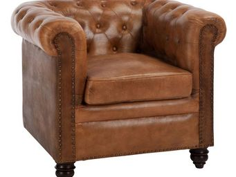 WHITE LABEL - fauteuil chesterfield cuir cognac - fieldman - l 8 - Fauteuil Chesterfield