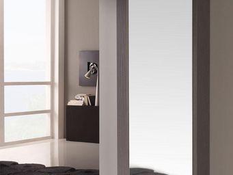 WHITE LABEL - meuble à chaussures blanc/cendre + miroir - siya - - Meuble À Chaussures