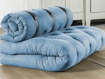 WHITE LABEL - chauffeuse 2 places buckle up futon bleu azur couc - Chauffeuse
