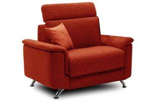WHITE LABEL - fauteuil empire tweed orange convertible ouverture - Fauteuil Lit