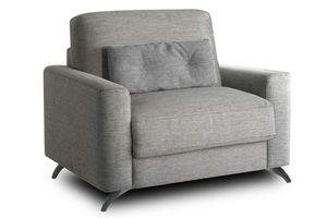 WHITE LABEL - fauteuil sakura microfibre grise convertible ouver - Fauteuil Lit