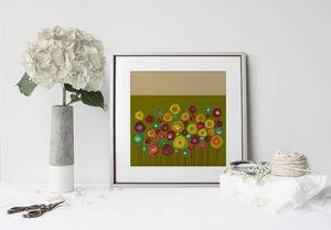 la Magie dans l'Image - print art bouquet vert - Estampe