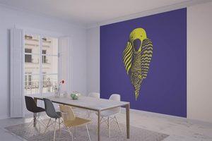 la Magie dans l'Image - grande fresque murale perroquet bleu - Papier Peint Panoramique