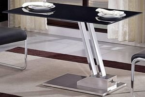 WHITE LABEL - table basse relevable step en verre sérigraphié no - Table Basse Relevable