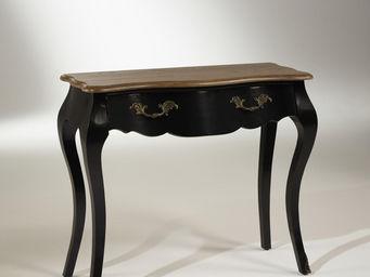 Robin des bois - console plateau chêne, 1 tiroir, noire, ninon - Console À Tiroir