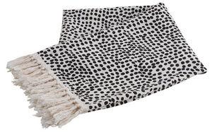 Aubry-Gaspard - plaid en coton blanc à pois noirs - Plaid