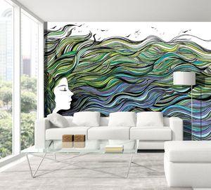 IN CREATION - profil et cheveux de mer - Papier Peint Panoramique