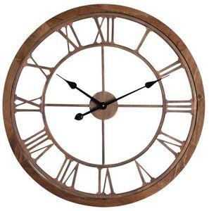 Aubry-Gaspard - horloge en métal cuivré et bois - Horloge Murale