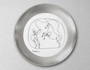 MARC DE LADOUCETTE PARIS - cheval et dompteur-- - Plat Rond