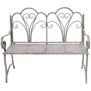 CHEMIN DE CAMPAGNE - banc fauteuil de jardin pliable en fer 110 cm - Banc De Jardin