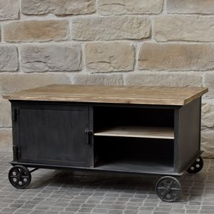 CHEMIN DE CAMPAGNE - table basse de salon à roulettes bois fer industri - Table Basse Rectangulaire