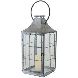CHEMIN DE CAMPAGNE - grande grosse lanterne en métal fer zinc 58 cm - Lanterne D'intérieur