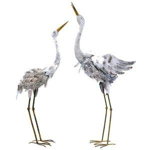 CHEMIN DE CAMPAGNE - statue sculpture couple cigogne en fer oiseaux - Ornement De Jardin