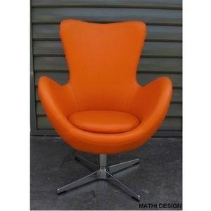 Mathi Design - fauteuil cocoon simili cuir couleurs - Fauteuil Rotatif