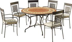 HEVEA - table de jardin ronde et fauteuils lorny vigo - Salle À Manger De Jardin