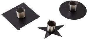 Aubry-Gaspard - bougeoir en métal laqué noir (lot de 3) - Bougeoir