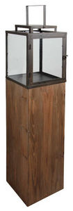 Aubry-Gaspard - lanterne de jardin en bois et métal 25x25x114cm - Lampe De Jardin