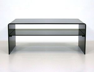 Abode Interiors - black glass coffee table with shelf - Table Basse Avec Plateau