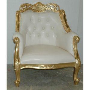 DECO PRIVE - fauteuil oriental de mariage dore et simili blanc - Fauteuil Crapaud