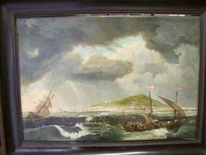LA CONGREGA ANTICHITA' - tableau:dipinto olio su tela raf. marina - Marine