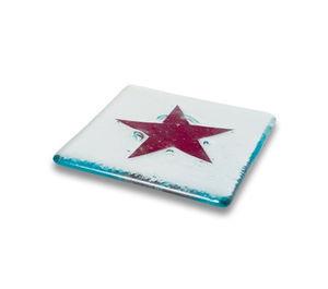 J D Wns Glassdesign - set of 4 classic star coasters (red, mocha) - Sous Verre