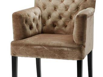MEUBLES ZAGO - chaise charleston velours avec accoudoirs - beige - Fauteuil