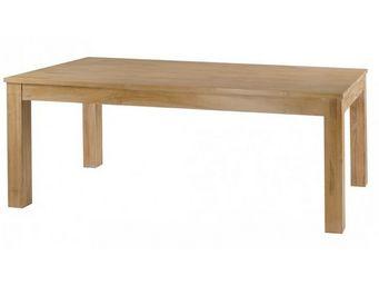 MEUBLES ZAGO - table teck blanchi cosmos 160 cm avec allonge - Table De Repas Rectangulaire
