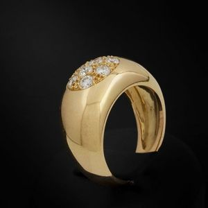 Expertissim - bague bandeau or et diamants - Bague