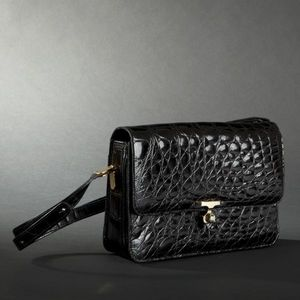 Expertissim - sac en crocodile noir, griff� c�lina - Sac � Main
