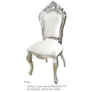 DECO PRIVE - chaise baroque blanche la mariee argentee et aspec - Chaise