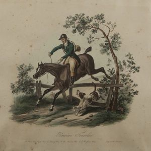 Expertissim - d'apr�s carle vernet. barri�re franchie et cheval - Lithographie
