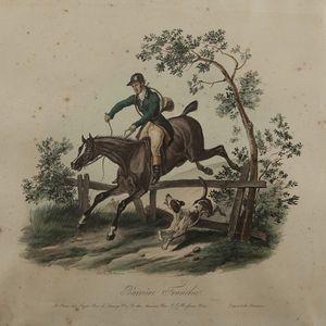 Expertissim - d'après carle vernet. barrière franchie et cheval - Lithographie