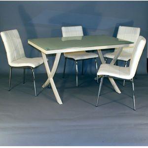 Smart Boutique Design - table en verre rectangle + 4 chaises crème calice - Table De Repas Rectangulaire