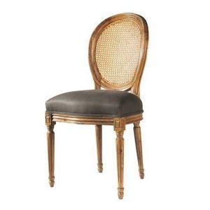 Maisons du monde - chaise taupe lin louis - Chaise Médaillon