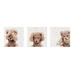 Maisons du monde - kit 3 toiles ourson joueur - Tableau Décoratif