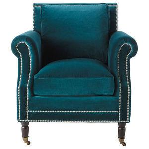 Maisons du monde - fauteuil velours bleu dandy - Fauteuil
