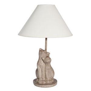 MAISONS DU MONDE - lampe 2 chats gris - Lampe À Poser