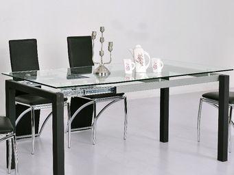 CLEAR SEAT - table en verre transparent à rallonge extensible m - Table À Rallonge